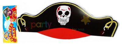 12 Cardboard Pirate Hats - Skull Black Pinata Loot/Party Bag Fillers Paper](Paper Pirate Hat)