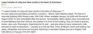 Spacious and big 2 1/2 studio for lease transfer in downtown