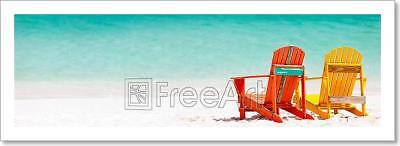 Colorful Chairs On Caribbean Beach Art Print Home Decor Wall Art Poster - C - Caribbean Decor