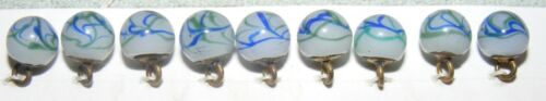 """WONDERFUL SET OF 9 MATCHING GLASS CHARMSTRING BUTTONS - 5/16"""" +/-"""
