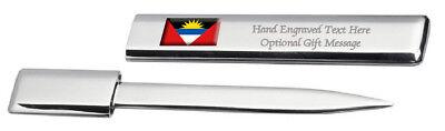 Antigua & Barbuda Bandera Grabado Envío Carta Abridor Funda
