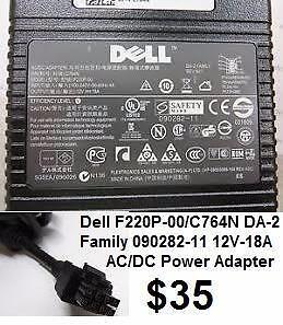 Dell F220P-00/C764N DA-2 Family 090282-11 12V-18A AC/DC Power Adapter Dell Optiplex 760 755 USFF 220W 12V 18A