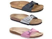 Brand new in box black leather Birkenstock Madrid sandals size uk6