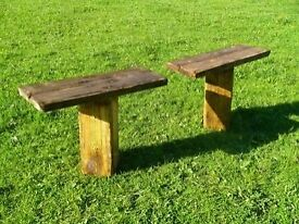 Pair of Very Solid heavy duty solid wood Garden Benches