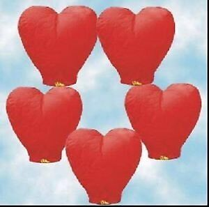 Heart-shaped flying lanterns
