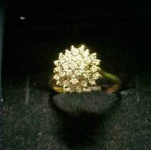 Diamond Cluster Ring 14k Gold $250
