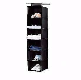 Two of the same black canvas hanging wardrobe units
