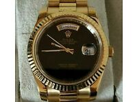 Rolex Day Date Presidential Gold With Black Face 41mm + Box, Papers