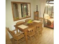 Solid Pine Farmhouse Kitchen Table and 6 Dining Chairs 2 are Carvers - Bradford