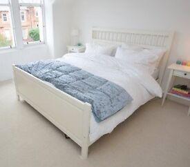 Ikea Hemnes king size bed frame - white wood