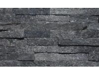Black sparkly Quartz wall tiles (Box of 8)