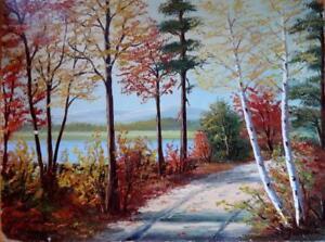 "Oakville Original Oil Painting Framed Mid-Century 19x16""  Landscape Nature Trees Forest Autumn Fall Group of seven 7 Art"