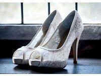 ivory lace peep toe shoes