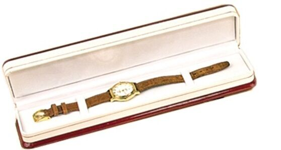 Cherry wood  and White Bracelet or Watch Jewelry Display Gift Box
