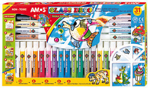 31 PEELABLE AMOS DECO GLASS STAIN PAINTS OUTLINERS, SPARKLES,CONFETTI & PATTERNS