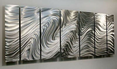 Statements2000 Modern Silver Metal Wall Art Abstract by Jon Allen Hypnotic Sands