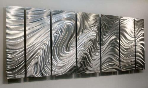 Statements2000 Modern Silver Metal Wall Art Abstract by Jon Allen Hypnotic Sands