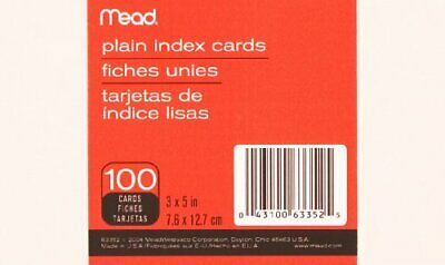 Mead Plain Index Card - 100 - 5 X 3 - 100 Pack - White Paper Mea63352