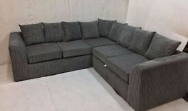 EXPRESS DELIVERY ALL UK   NEW LIVERPOOL JUMBO CORD GREY CORNER or 3+2 SOFA   1 YEAR WARRANTY