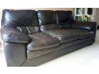 3 SEATER SOFA IN BROWN FAUX LEATHER