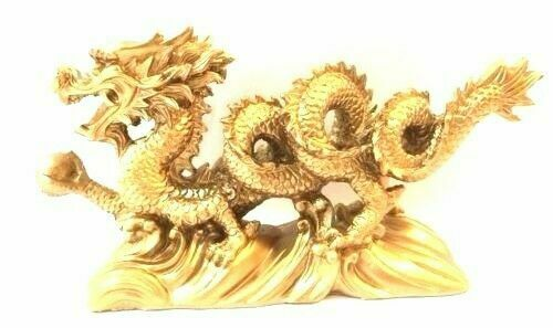 """NEW  Chinese Feng Shui Dragon Figurine Statue for Luck & Success 6"""" LONG"""
