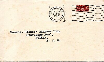 GB 1936 KGV London Cover with Horizontal Bisected 1 1/2d Red-brown SG 441