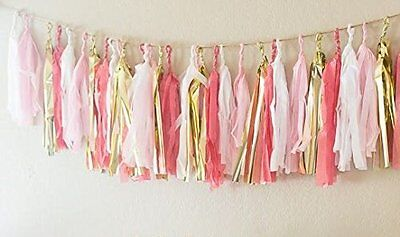 16 x Originals Group Coral TISSUE PAPER TASSELS for Party Wedding gold Garland