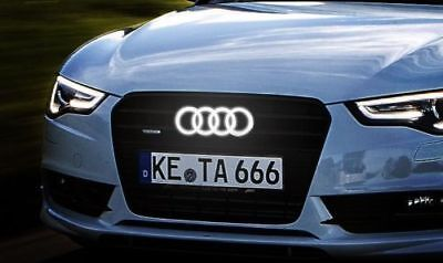 LED Illuminated Front Grill Emblem White Light Badge For Audi A1 A3 A4 A5 SQ7