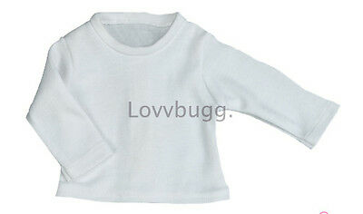 "Lovvbugg White Long Sleeve T Shirt for 18"" American Girl Doll Clothes"