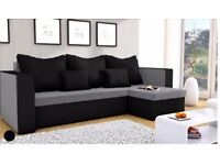Corner sofa bed grey and black with storage/ universal left or right hand side only 3 cushions