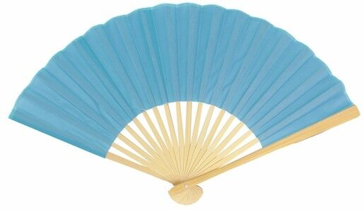"""9"""" Turquoise Silk Hand Fans for Weddings (50 PACK)"""