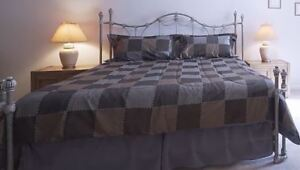 KING SIZE IRON BED:  Headboard, Foot-board and Frame