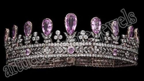 24.66ct Rose Cut Diamond Antique Look 925 Silver Wedding Amethyst Gemstone Tiara