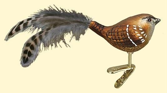 WREN CLIP ON BIRD FEATHER TAIL OLD WORLD CHRISTMAS GLASS ORNAMENT NWT 18082