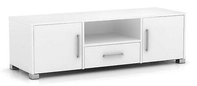 Tv stand entertainment unit 1 drawer 2 door white cabinet flat screen sorrento