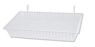7pcs. White Medium Baskets For Slatwall Gridwall And Pegboard