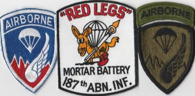 """PATCHES - MORTAR BATTERY 187th AIRBORNE INFANTRY """" RED LEGS """""""
