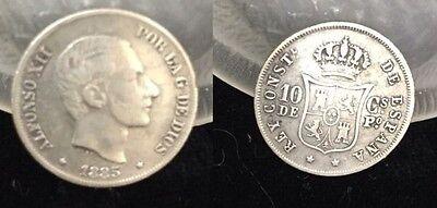 1885/3 Philippines Silver 10- centavos
