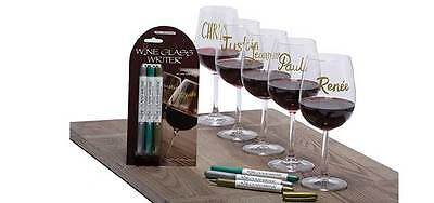 Wine Glass Writers Original Metallic Pack Set of 3 Reusable Wine Markers Pen