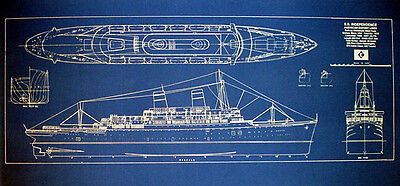 Vintage Hawaiian Passenger Ship SS Independence 1950 Blueprint Plan 12x30  (160)
