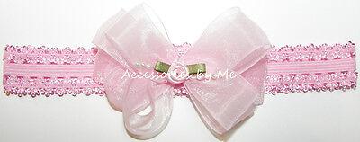 Frilly Pink Bow Headband Organza Rose Flower Lace Hair Band Newborn Infant Baby  Organza Baby Headband