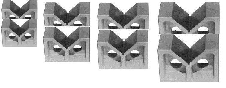 "4  PAIRS  2"" , 3"",  4"" AND 5"" CAST IRON  V- BLOCKS SET"