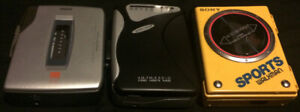 3 Vintage Sony / RCA  Walkman Cassette players 2 Functional