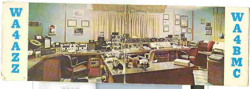 pc3353 postcard QSL Double Fold WA4AZZ WA4BMC Lake Worth Florida 1971