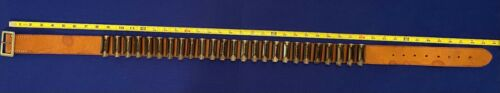 Unbranded 12 Ga. 25 Round Leather Shot Shell Belt with Metal SS Holders: Large