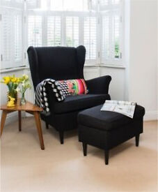 Black high back wing armchair