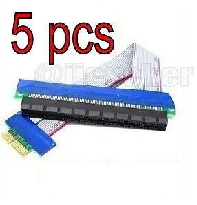 5 pcs PCI-E Extension Cable 1x To 16x Slot Extender Riser Card Adapter