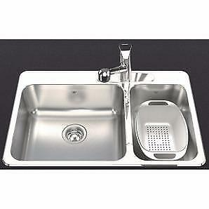 31¼ x 20½ inches Kindred Steel Queen Topmount 8 inches Dp $210 Double Offset Kitchen Sink with Faucet Ledge