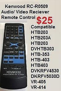 Kenwood RC-R0509 Audio/ Video Reciever Remote Control - Fully Tested & Working HTB203 HTB-303 353 403 KRF-V4530D VR