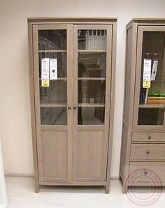 ikea hemnes bookcase cabinet brown grey with panel glass doors and